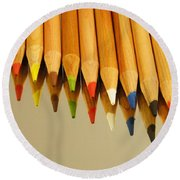 Colored Pencils Round Beach Towel