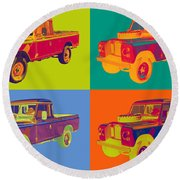 Colorful 1971 Land Rover Pick Up Truck Pop Art Round Beach Towel by Keith Webber Jr