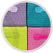 Colorful Baskets Round Beach Towel