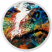Colorful Bear Art - Bear Stare - By Sharon Cummings Round Beach Towel