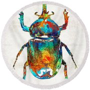 Colorful Beetle Art - Scarab Beauty - By Sharon Cummings Round Beach Towel by Sharon Cummings