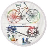 Colorful Bike Art - Vintage Patent - By Sharon Cummings Round Beach Towel by Sharon Cummings