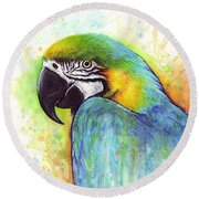 Macaw Watercolor Round Beach Towel