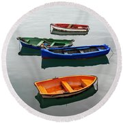 colorful boats on Santurtzi Round Beach Towel