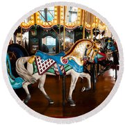 Round Beach Towel featuring the photograph Colorful Carousel Horse by Jerry Cowart