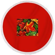 Round Beach Towel featuring the painting Colorful Carpet by Jackie Carpenter