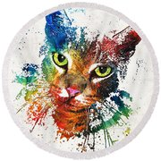 Colorful Cat Art By Sharon Cummings Round Beach Towel