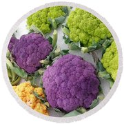 Round Beach Towel featuring the photograph Colorful Cauliflower by Caryl J Bohn