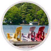 Round Beach Towel featuring the photograph Colorful Chairs by Les Palenik