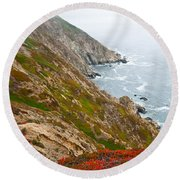 Colorful Cliffs At Point Reyes Round Beach Towel by Jeff Goulden