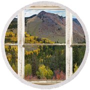 Colorful Colorado Rustic Window View Round Beach Towel