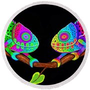 Colorful Companions Round Beach Towel by Nick Gustafson