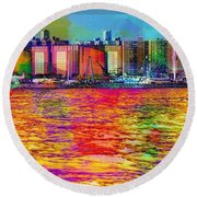 Colorful Coney Island Round Beach Towel by Lilliana Mendez