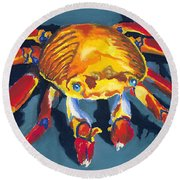 Colorful Crab Round Beach Towel by Stephen Anderson