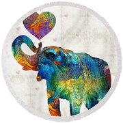 Colorful Elephant Art - Elovephant - By Sharon Cummings Round Beach Towel