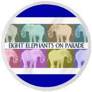 Colorful Elephants Round Beach Towel by Marian Cates