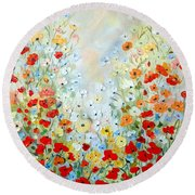 Colorful Field Of Poppies Round Beach Towel