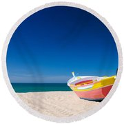Colorful Fishing Boat Algarve Portugal Round Beach Towel