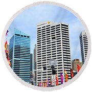 Colorful Flags Lead To City By Kaye Menner Round Beach Towel