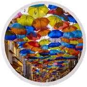Colorful Floating Umbrellas Round Beach Towel