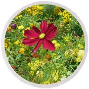 Colorful Flower Meadow With Great Red Blossom Round Beach Towel