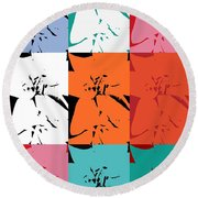 Colorful Flowers  Lily Round Beach Towel