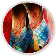 Colorful Footwear Juttis Sales Jaipur Rajasthan India Round Beach Towel
