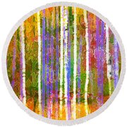 Colorful Forest Abstract Round Beach Towel by Menega Sabidussi