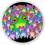 Colorful Froggy Family Round Beach Towel