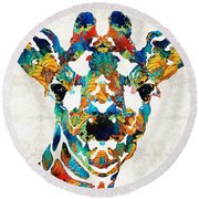 Colorful Giraffe Art - Curious - By Sharon Cummings Round Beach Towel