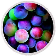 Colorful Grapes - Digital Art Round Beach Towel by Carol Groenen