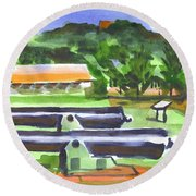 Round Beach Towel featuring the painting Colorful Green Fort Davidson by Kip DeVore