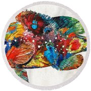 Colorful Grouper Art Fish By Sharon Cummings Round Beach Towel