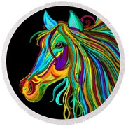 Colorful Horse Head 2 Round Beach Towel