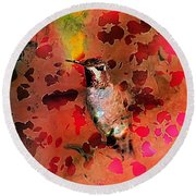 Colorful Hummingbird Round Beach Towel