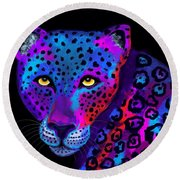 Colorful Jaguar Round Beach Towel