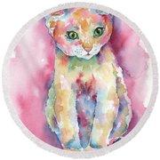 Colorful Kitten Round Beach Towel