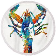 Colorful Lobster Art By Sharon Cummings Round Beach Towel by Sharon Cummings