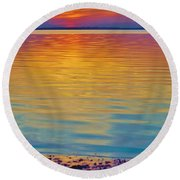 Colorful Lowtide Sunset Round Beach Towel