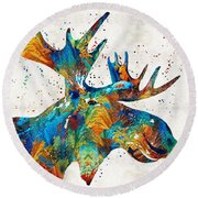 Colorful Moose Art - Confetti - By Sharon Cummings Round Beach Towel