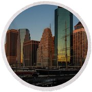 Round Beach Towel featuring the photograph Colorful New York  by Georgia Mizuleva