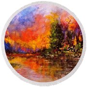 Colorful Night.. Round Beach Towel