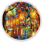 Colorful Night - Palette Knlfe Oil Painting On Canvas By Leonid Afremov Round Beach Towel