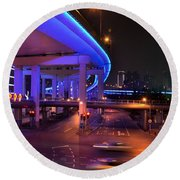Colorful Night Traffic Scene In Shanghai China Round Beach Towel