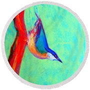 Colorful Nuthatch Bird Round Beach Towel