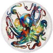 Colorful Octopus Art By Sharon Cummings Round Beach Towel