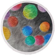 Colorful Orbs Round Beach Towel