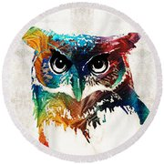 Colorful Owl Art - Wise Guy - By Sharon Cummings Round Beach Towel