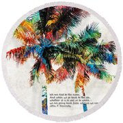 Colorful Palm Trees - Returning Home - By Sharon Cummings Round Beach Towel