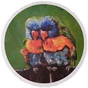 Colorful Parrots Round Beach Towel